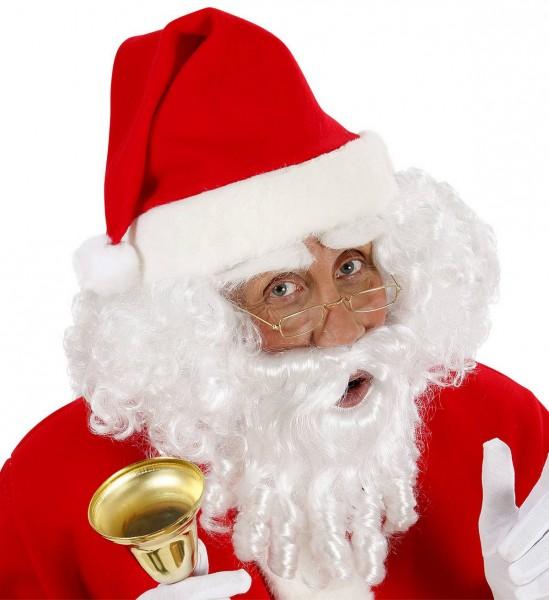 Weihnachtsmann Perücke mit Locken, Bart, Schnurrbart und Augenbrauen ° Weiß