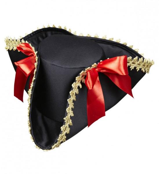 Piratendreispitz mit Dekorationen und Schleifen ° Schwarz-Gold