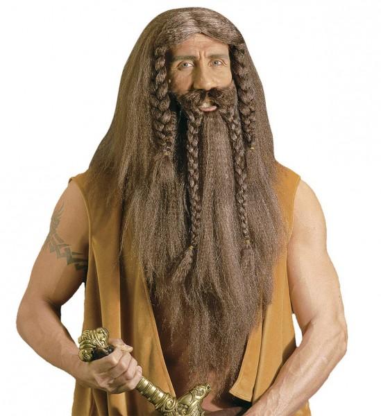 Perücke Barbar mit Bart und Schnurrbart
