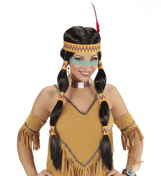 Squaw Indianerin Perücke mit Stirnband und Feder