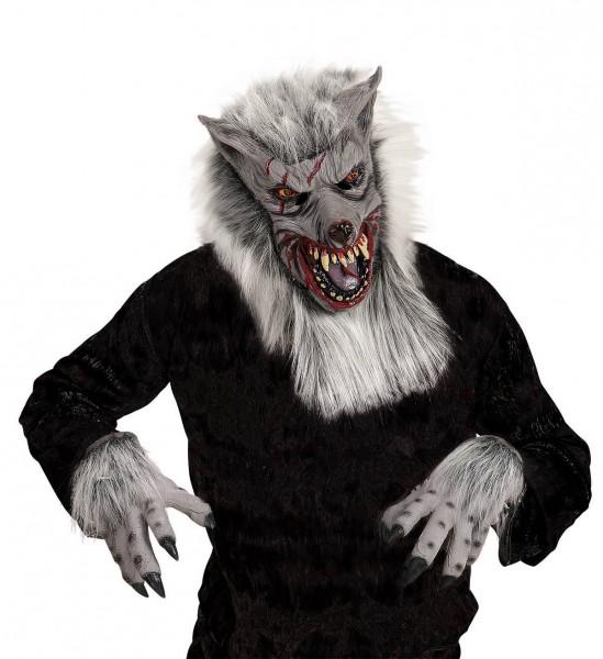 Werwolf ° Maske mit Plüschhaar, Hände mit Plüschhaar