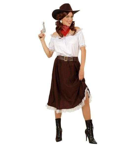 Cowgirl ° Bluse, Rock, Gürtel, Hut