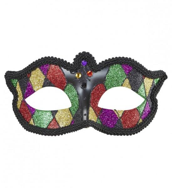 Glitter Harlequin Augenmaske