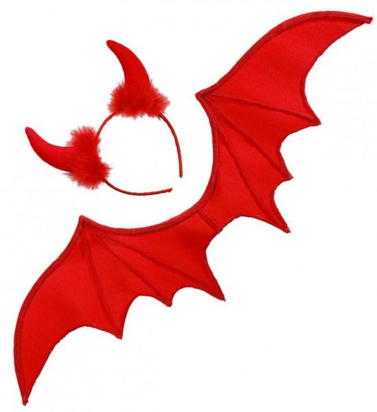 Teufel Dress Up Set ° Flügel, Hörner ° Rot