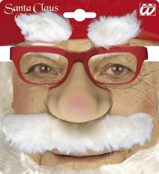 Weihnachtsmann Brille mit Nase, Schnurrbart und Augenbrauen
