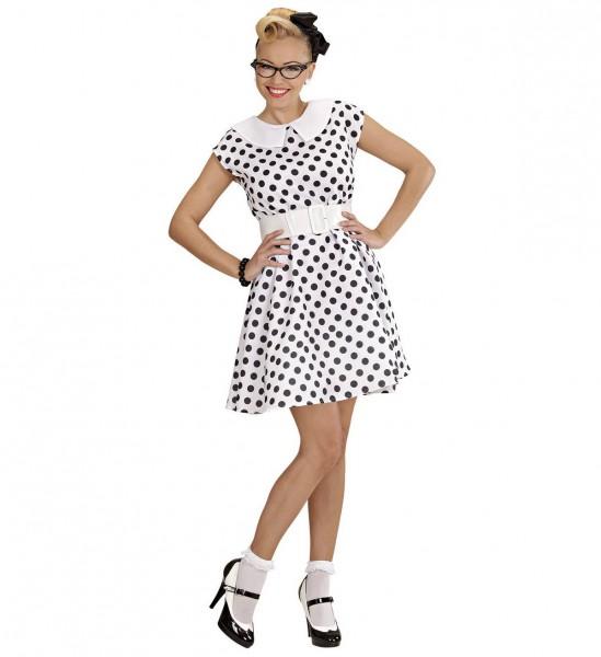 Frau der 50er Jahre ° Kleid, Gürtel, Petticoat ° Weiß