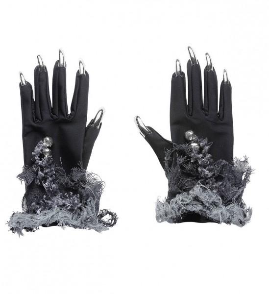 Handschuhe mit silbernen Fingernägeln und Glöckchen für Hexe, Katze, etc. ° OneSize