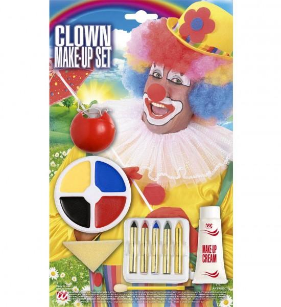 Clown Schminke - weißes Make-Up, 5 Schmink-Stifte, Behälter mit 4 Make-Up Farben, Schwamm, Applikato