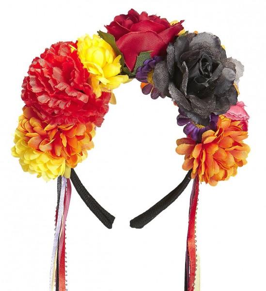Haarreif mit Blumen und bunten Bändern
