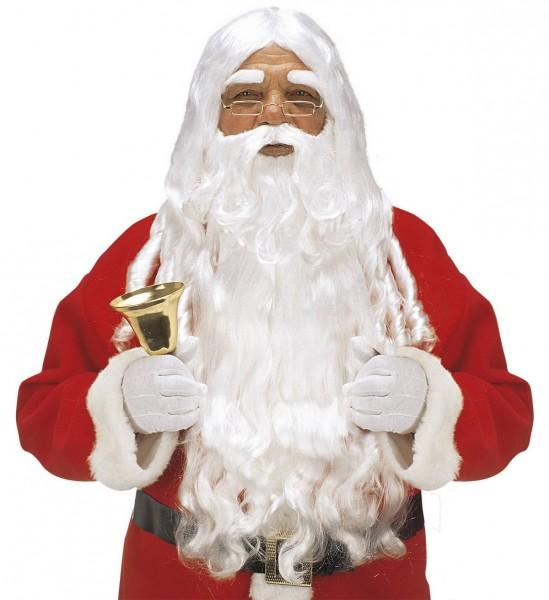 Luxus Weihnachtsmann Perücke mit Locken, Maxi Bart mit Schnurrbart, Augenbrauen ° Weiß