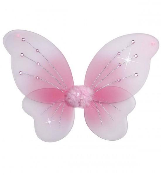 Flügel mit rosa Glitter und Juwelen ° 50x40 cm