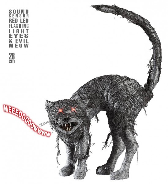 Zombiekatze mit rot blinkenden LED Augen und teuflischem Miau, geräuschaktiviert ° 28 cm