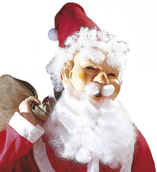 Weihnachtsmann Maske mit Mütze, Haaren, Augenbrauen, Schnurrbart und Maxi Bart