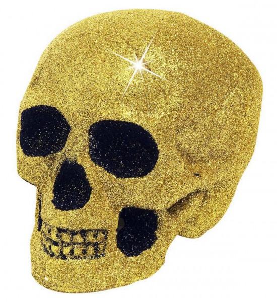 Glitzer Totenkopf ° Gold ° 19 cm