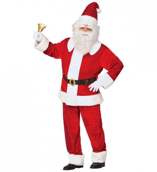 Luxus Weihnachtsmann aus Samt ° Kasack, Hose und Hut mit Plüschrand, Gürtel mit Schnalle ° XL