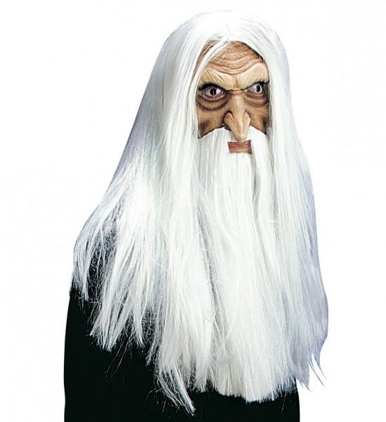 Magier Maske mit Perücke, Maxibart und Schnurrbart