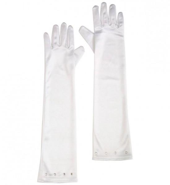 Lange Handschuhe Glamour aus Satin mit Diamanten, Kindergröße ° Weiß ° OneSize