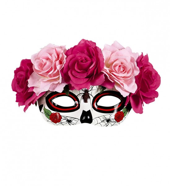 Dia De Los Muertos dekoriert mit roten & pinkfarbenen Rosen