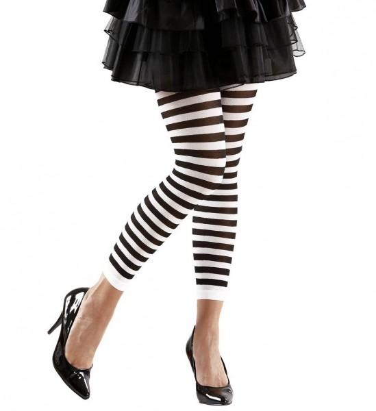 Gestreifte Leggings ° Weiß-Schwarz ° 70 DEN ° OneSize