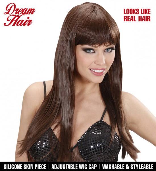 Glattes Haar mit Pony Perücke Chérie ° Braun