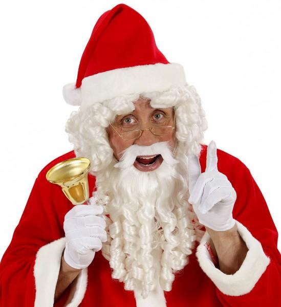 Weihnachtsmann Perücke mit Locken, Bart und Luxus Augenbrauen