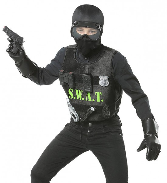 S.W.A.T. - Set ° Kugelsichere Weste, Maske, Abzeichen, Pistole, Handschellen, Funkgerät, Taschenlamp