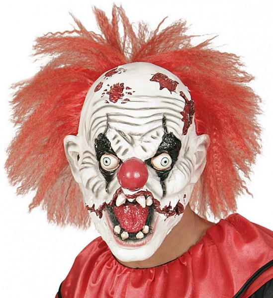 Killer Clown Maske mit Haar